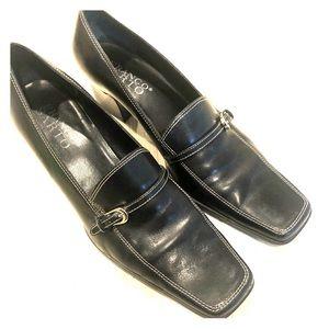 Franco Sarto Black Leather Loafer Style Pumps 9